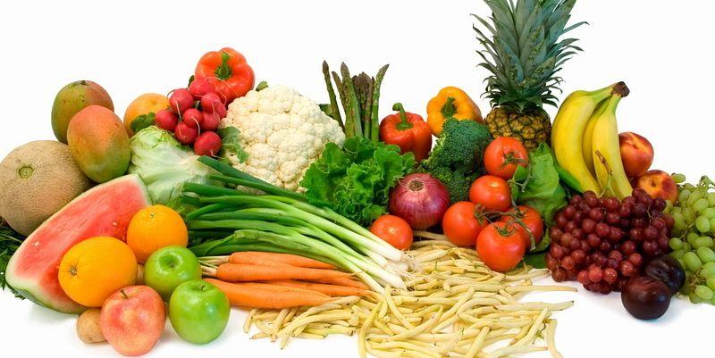 Свежие овощи, фрукты и зелень